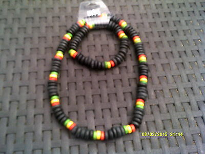 Jamaican Rasta Colour Beaded Necklace and Braclet set