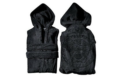 VERSACE MEDUSA BATHROBE with Hoodie BLACK  Size L-XL Hooded