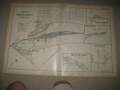 Large Antique Middletown Wallkill Orange County New York Handcolor Map Railroad