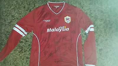 Superb Cardiff City Home Shirt Signed By 22