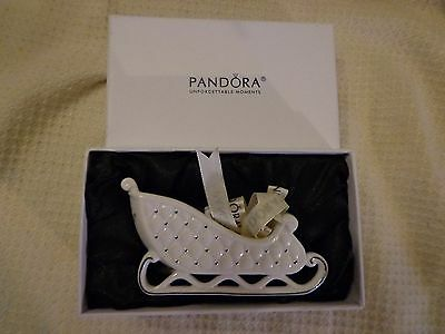Pandora 2014 Limited Edition Christmas Sleigh Ornament White Holiday