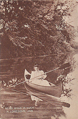"""""""Being Good is Such a Lonesome Job"""" CANOEING 1912 Vacation Series Postcard"""