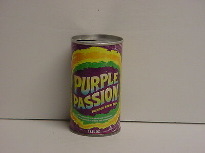Vintage Purple Passion Soda Can Straight Steel Pull Tab Top Opened