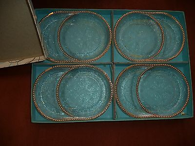 Depression Glass Harp Crystal With Gold Trim Ash Tray/coaster Set(Original Box!)
