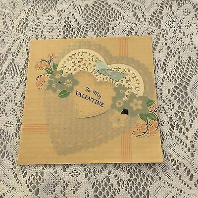 Vintage Greeting Card Valentine Lace Heart Victorian Flowers