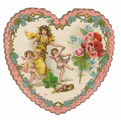 Frances Brundage Valentine - Lady in Gold Gown Dancing with Cupids
