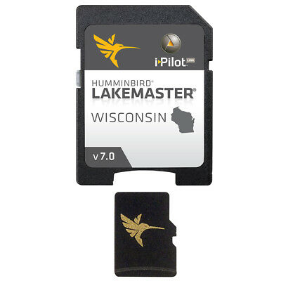 Humminbird LakeMaster Wisconsin Mapping Card Version 7.0 MicroSD/SD 600025-5