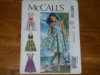 McCall's M6745 Misses Dress Pattern sz 14-22 FF UNCUT summer