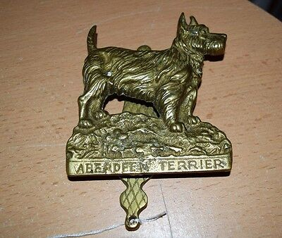 Antique English Brass Large Dog Door Knocker Aberdeen Terrier NICE!