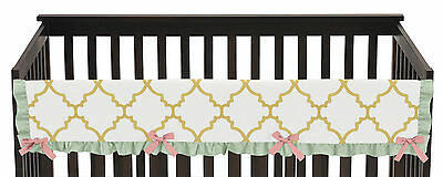 Trellis Mint Coral Ava Front Rail Guard Crib Cover Baby Teething Protector Wrap