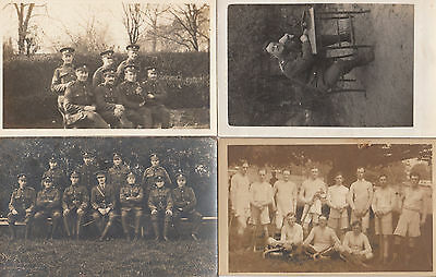 4 Military WW1 Group Soldiers Antique War Portrait Postcard s