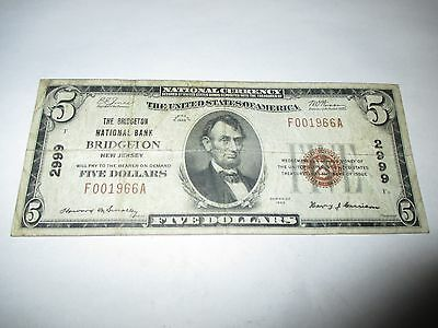 $5 1929 Bridgeton New Jersey NJ National Currency Bank Note Bill Ch. #2999 RARE