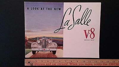 1937 LA SALLE V8 - Prestige Color Dealer Sales Catalog Brochure- Excellent (USA)