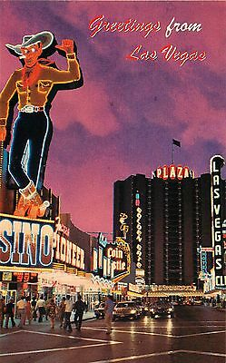 Nevada - Greetings From Las Vegas  - Neon Vegas Vic Cowboy - Vintage Postcard