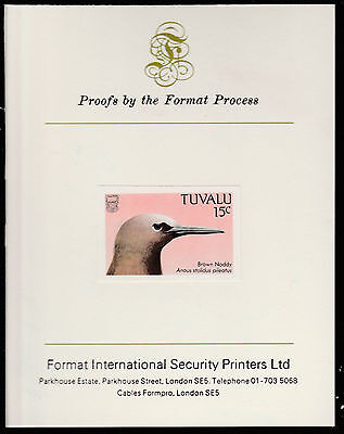 Tuvalu (1405) - 1988 BIRDS 15c imperf on Format International PROOF  CARD