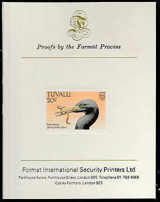 Tuvalu (1410) - 1988 BIRDS 50c imperf on Format International PROOF  CARD