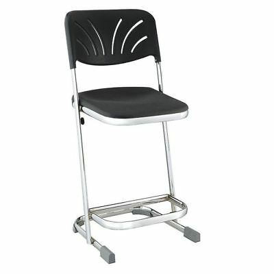 "National Public Seating Square Stool with Backrest, Height 22""Black, 6622B"