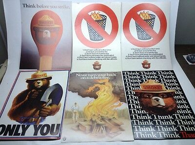 Vintage Lot Of 6 1980's Smokey Bear US Forest Service Cardboard Posters