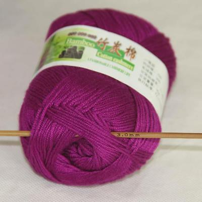 Sale New 1Skeinx50g Soft Baby Natural Smooth Bamboo Cotton Hand Knitting Yarn 03