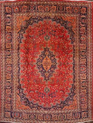 """Great Deal Floral Red Wool 10x13 Mashad Persian Oriental Area Rug 12' 9"""" x 9' 6"""""""