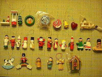 Lot 28 Vintage Wooden Christmas Ornaments Snowmen People Angels Sled Drum Tree