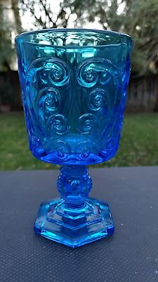 Imperial Glass Antique Blue Pressed Glass Scroll 5 oz Wine Goblet 4 3/4 X 2 3/4""