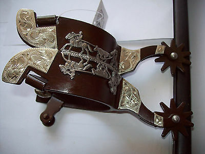 Brown men's spurs team roping horse design western silver engraved accents