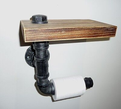 Rustic Floating Pipe Toilet Roll Holder, New In Box, With Shelf