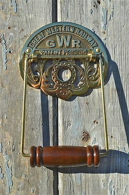 Antique brass GWR Great Western Railway toilet roll holder wall mounted SBGWR