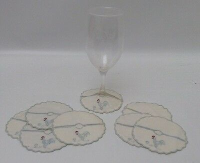 Antique Linen Wine Glass Stem Cozies Coasters Embroidered Roosters Set Of 8