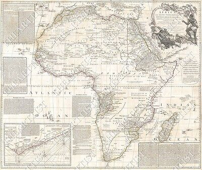 HUGE VINTAGE 1794 AFRICA GOLD COAST AFRICAN ANTIQUE WALL MAP CHART print