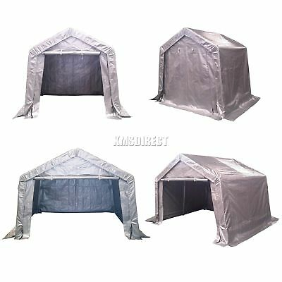 FoxHunter Galvanized Waterproof Motor Bike Storage Shed Tent Garage Barn Grey