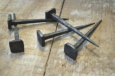 Set of 5 large handmade square head wrought iron nails door stud hanger IN1