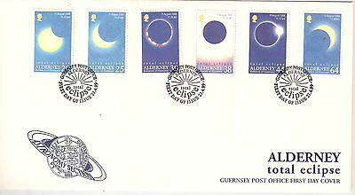ALDERNEY 1999 SOLAR ECLIPSE Set of 6 on FIRST DAY COVER