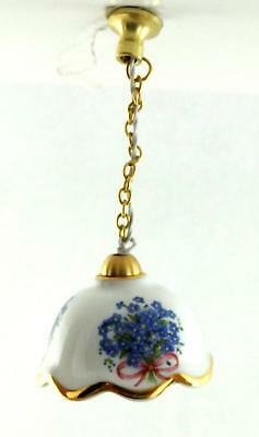Dolls House Hanging Ceiling Light Porcelain Forget Me Not Shade Electric Lamp