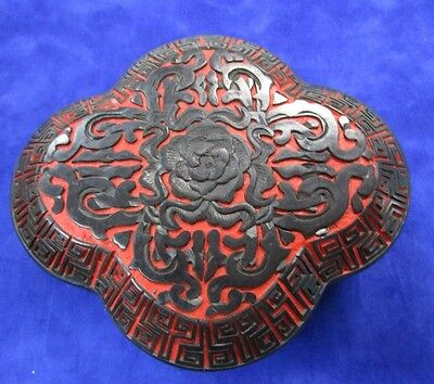 Vintage 1970's Chinese Large Red Black Heavily Carved Cinnabar Lacquer Box