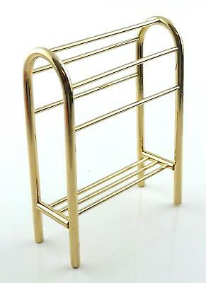 Dolls House Brass Towel Rail Rack Stand with Shelf Miniature Bathroom Accessory