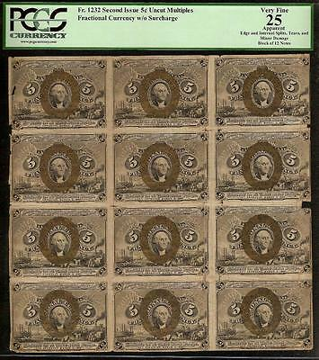 BLOCK OF 12 UNCUT 5 CENT FRACTIONAL NOTES POSTAGE CURRENCY Fr 1232 PCGS 25