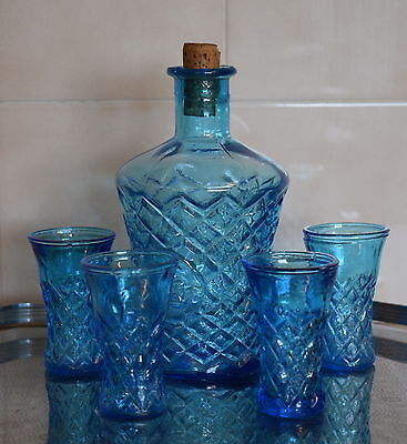 Vintage BLUE GLASS DECANTER with 4 Shot/Sherry/Liqueur Glasses ~ Taiwan RETRO