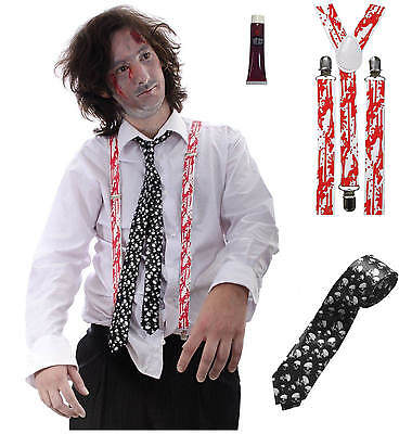 Zombie Teacher Office Man  Blood Braces +  Skull Tie + Fake Blood Halloween Set