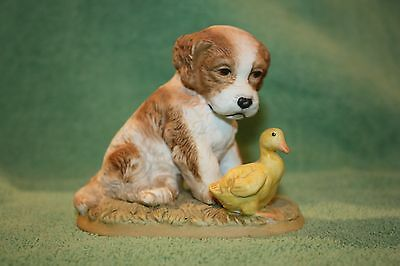 HOMCO Dog / Puppy And Duck Figurine, #1413