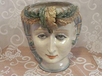 Vintage Large Head Vase Planter 12 1/2 inches tall Lady Headdress and Earings