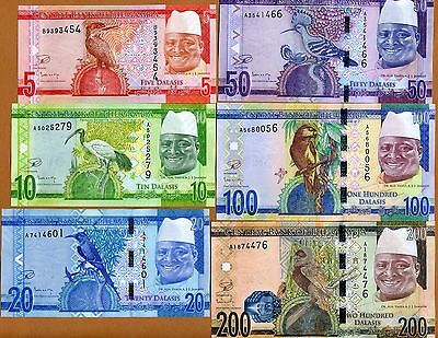 SET Gambia, 5;10;20;50;100;200 Dalasis, ND (2015), P-New, re-designed, UNC