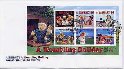 ALDERNEY 2000 WOMBLES MINIATURE SHEET on FIRST DAY COVER