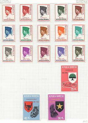 Indonesia 3 album pages of stamps 56 stamps in all several mh (1234)