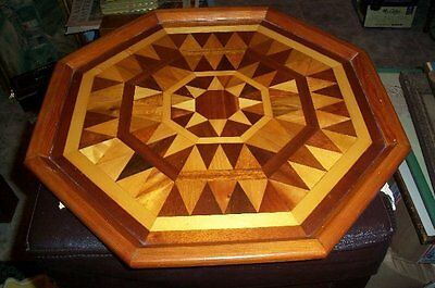 """Nice Large Antique Wood Inlay Tray Inlaid Geometric Marquetry 17"""" Diameter"""