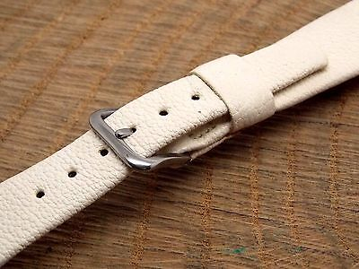 """11/16"""" NOS Vintage White Leather Mido Watch Band Stainless Steel Buckle 17.5mm"""