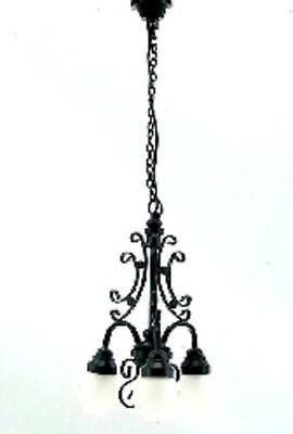 Dolls House Black Filigree Chandelier Globe Shades Miniature 12V Electric Light