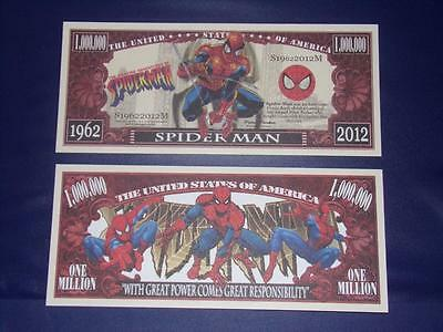 A Beautiful $1,000,000 Novlty U.s.banknote Of Spider Man Free Note Offer!