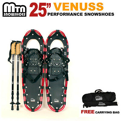 """New MTN RED All Terrain 25"""" Snowshoes + BLACK Nordic Pole + Free Carrying Bag"""